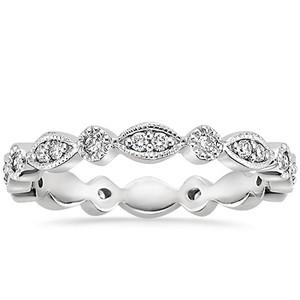 18K White Gold Tiara Eternity Diamond Ring